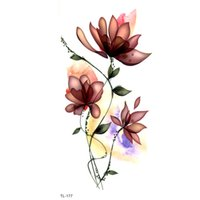 ed56785ec lotus Flower Waterproof Temporary Tattoos Men Fake Tattoo Tatuaje Temporal  Henna Tattoo Stickers Kids Tatoo For Girl