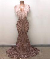 Wholesale golden short dresses for sale - Group buy Long Elegant Prom Dresses New Arrival Sparkly Mermaid V neck Golden Sequin Feather African Girl Evening Dresses Vestidos de fiesta