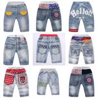 erkek pantolon kot tasarımları toptan satış-Çocuk Boys Casual Jeans 10 Tasarım Yaz Çizgili Yıldız Mektup Baskılı Orta Pantolon Bebek Çocuk Tasarımcı Giyim 3-10 T