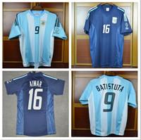 argentinien zuhause großhandel-2002 Retro Argentinien Batistuta AIMAR Trikots Weltmeisterschaft Herrenhemden Heim Auswärts Uniformen Kit Camiseta de futbol Maglie da Calcio