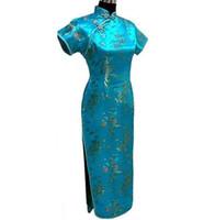 chinês longo cheongsam mais tamanho venda por atacado-Azul Roupas de Cetim Tradicional Chinesa das Mulheres Longo Cheongsam Qipao Top Vestido Plus Size S M L X Xl Xxxl 4xl 5xl 6xl W3021 J190507