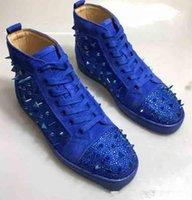 красная удобная обувь оптовых-2019 Известные торговые марки Мужчины Женщины Red Bottom Shoes Мода шипованных Шипы Flats кроссовки Удобные партии, любовники натуральная кожа Повседневная обувь