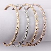 bracelet vintage en or 14k achat en gros de-Pave Crystals Vintage Gold Rose Gold Silver Tone Bangle Sets critiquer les femmes de fleur manchette bracelet