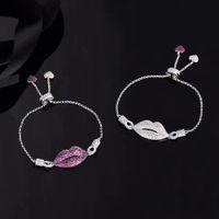 Wholesale bracelet for anniversary sale resale online - Hot Sale Charming Mouth Bracelets Bangles For Women Girls Silver Color Red Lips Bracelets Statement Jewelry zk40