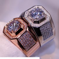 Wholesale topaz band resale online - Luxury Jewelry choucong Brand Desgin kt White Rose Gold Filled Pave Setting Party CZ Diamond Topaz Wedding Band Ring Gift Size