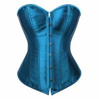 b8e37c54b51 caudatus vintage corset tops for women plus size wedding bridal bustier  corset lingerie sexy corselet overbust shapewear blue