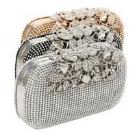 bolsos para novias al por mayor-THINKTHENDO Mujeres Bolso de Embrague de Noche de Cristal Rhinestone Flor Nupcial Bolso de La Boda Bolso # 235885
