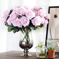 decoración de la mesa alta boda al por mayor-Rosa Ramos de flores Decoración de la boda de alta calidad de seda artificial Rose Bouquet para la decoración de la mesa en casa 10 cabezas / ramo