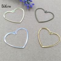 ingrosso cuori d'ottone-BoYuTe 100 pezzi 1 dimensioni 20mm timbratura metallo ottone cuore connettore charms materiali fatti a mano gioielli fai da te
