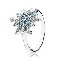 Wholesale 925 silver snowflake jewelry for sale - Group buy Original Sterling Silver Ring Blue Zirconia Sea Snowflake Ring For Women Wedding Party Gift Fashion Jewelry