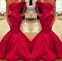 ingrosso abito satinato arabo-2019 Saudi Arabian Design Red Sweetheart Mermaid Satin floor-lunghezza abiti da sera Fishtail abito abito da ballo su misura