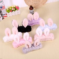 kore tavşan kulak kemeri toptan satış-Flanel tavşan kulak saç bandı yüz yıkama makyaj bandı Kore saç aksesuarları tuvalet malzemeleri fabrika doğrudan