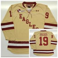 spor hokeyi formaları toptan satış-Üniversite Boston Eagles Jerseyss Erkekler Buz Hokeyi 19 Chris Kreider Formalar Sarı Takım Renk Spor Satışa En Kaliteli