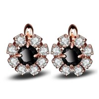 Wholesale baby children earrings resale online - Rose Gold Color Flower Round Black CZ Zircon Flower Small Circle Huggie Hoop Earrings For Women Jewelry Children Girl Baby Kids