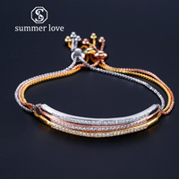 Wholesale bracelet single row crystals resale online - New Fahion Rose Gold Plated Single Row Cubic Zirconia Charm Bangle Bracelets CZ Crystal Bling Adjustable Chain Women Party Jewelry Gifts