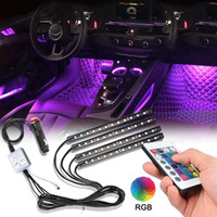 ingrosso luce al neon di colore-Car Interior Lights 4pcs 48 LED Car Floor Atmosfera Glow Neon Lights Multi-Color Music Car LED Strip Lights Under Dash Lighting DC12V