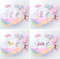 Wholesale headband shoes for babies for sale - Group buy 4pcs Per Set Rainbow Ice Cream Baby Girls Crown st nd Birthday Party Dress Jumpersuit Headband Shoes Leggins For months Y19061101