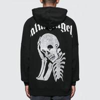 schädel sweatshirts für männer großhandel-19FW Palm Angels Silver Skull Kapuzenpullover Männer Frauen Mode Lässig Pullover Street Skateboard Schwarz Hoodies HFLSWY305