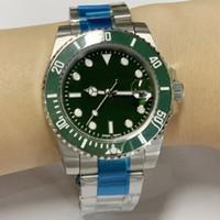 relógio verde azul venda por atacado-40mm Mens Automatic 116610 Preto / Azul / Verde Dail Relógios 18k Fecho de Ouro Cerâmica Moldura De Aço Inoxidável Sub Relógios
