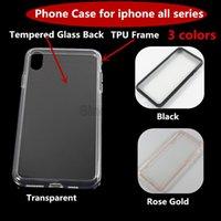 capas móveis pretas venda por atacado-À prova de choque transparente de vidro temperado de volta tpu borda preto mobile phone case capa para iphone x xs xs max xr 8 7