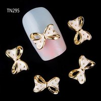 Wholesale 3d bows alloy nail resale online - 50pcs Golden Alloy Glitter d Nail Bows Art Decoration with Rhinestones Alloy Nails Charms Jewelry on Nails Salon Supplies