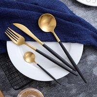 ingrosso forchette occidentali-Posate Portogallo coltello e forchetta cucchiaio in acciaio inox 304 stoviglie western Set di posate a coda d'oro con manico dorato