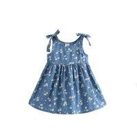 grande robe à manches bouffantes achat en gros de-Grandes petites robes à fleurs pour filles Bowknot à volants en coton été