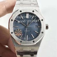 reloj de buceo hombre dial azul automatico al por mayor-Actualice la versión V5 para hombre Reloj automático Miyota 9015 Cal.3120 Hombres Blanco Azul Negro Dial Relojes de acero completos 15400 Relojes de pulsera Jive Royal