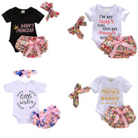 Wholesale baby girl navy tutu resale online - Baby Girl Romper Outfits Letter Crown Printed Tops Bow Pearls Tutu Sequined Shorts With Headband Three Piece Set Kids Designer Clothes M