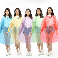 Wholesale portable raincoats resale online - Disposable PE Raincoats Poncho Rainwear Travel Rain Coat Rain Wear Portable Waterproof Poncho For Outdoor Rafting RRA1819