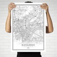 ingrosso dipingere la porcellana nera-China Black e White City Map Poster Pechino, Hong Kong Macao Chongqing Wall Art decorazione della casa della tela di canapa pittura regalo creativo