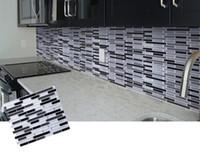 azulejos de mosaico para paredes de baños. al por mayor-Mosaico autoadhesivo Azulejo Backsplash Etiqueta de la pared Baño Cocina Decoración para el hogar DIY W4