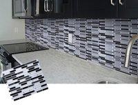 auto-adesiva da parede da cozinha venda por atacado-Telha autoadesiva do mosaico adesivo de parede backsplash banheiro cozinha home decor diy w4