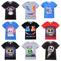 erkek gündelik gömlek giymek toptan satış-Yaz çocuklar için 39 stilleri erkek kız Marshmello Tişörtlü DJ Müzik pamuklu tişört 6-14 yıldır çocuklar sevimli gündelik giysiler giymek