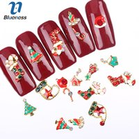 color de aleación 3d al por mayor-Blueness 10 UNIDS 3D Aleación Nail Art Accessories Christmas Series 12 Colores Nail Art Decoraciones Rhinestone Alloy