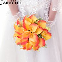 ingrosso mazzo artificiale nuziale arancione-JaneVini Arancione Giallo Calla Lily Bouquet da sposa per la sposa Handmade Bridal Flowers Artificial Bridesmaid Brooch Bouquet Fleur Artificielle