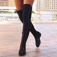 длинный шнурок оптовых-Женская мода Длинные сапоги на низком каблуке через колено Ботильоны на высоком каблуке Ботинки на плоской подошве