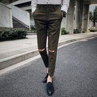 ingrosso abito di marca coreano-Disegno del ricamo del foro Pantaloni casual Uomo Abito pantaloni a vita bassa pantaloni sottili Pantaloni moda maschile coreano Abbigliamento maschile di marca