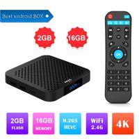 quad kern tv-box dhl versand großhandel-Heißer M9S W2 Amlogic S905W Viererkabelkern Android 7.1 Fernsehkasten 2GB 16GB ultra HD H.265 4K Media Player Dhl-freies Verschiffen besser S905X2 H96 MAX