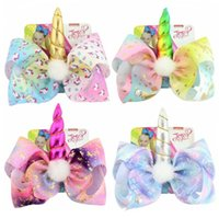 Wholesale headband inch resale online - 8 inch JOJO bow girl hair bows Unicorn Design Girl Clippers children s unicorn hairpin horns gilded bow print hair ring baby girls hair bow