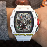 Wholesale best luxury skeleton watches for sale - Group buy Best Quality RM11 RG Ceramics Case Skeleton Big Date Dial Automatic Mechanical RM RM11 Mens Watch White Rubber Strap Sport Watches