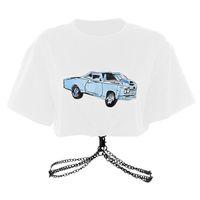 kettenglied kleidung großhandel-Womens Designer T Shirts Heiße Womens Brand Shirts Fashion T-Shirt mit coolem Autodruck Gliederkette Rundhalsausschnitt für Frauen Kurze Kleidung