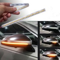 spiegel indikatoren großhandel-12V Universal-1Pc dynamische flexible Seitenrückspiegel -Anzeigelampe Fließende Signalstreifen Blinker gelbe LED DRL Licht DIY Drehen