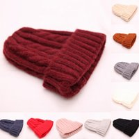 Wholesale warm winter tops for women resale online - Men women solid color wool knitted caps autumn winter warm baby cute hats colors for choose top quality