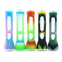 tubos tabacoo venda por atacado-Impressão em cores cachimbo de fumar tabacoo Tubo de Mão de calor Cachimbo de água de vidro Bongs heat pipe cera oil rig