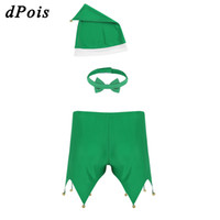 Wholesale adults men hats resale online - Christmas Lingerie Sets Sexy Lingerie Adult Men Green Triangle Bell Shorts with Hat Bow Tie Party Cosplay Dress Erotic Costume