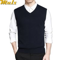 жилет из серой шерсти оптовых-Mens vest sweaters casual style wool knitted business men sleeveless vest blusas 4XL Muls  Brown Gray Black Navy MS16035