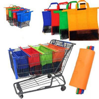 Wholesale supermarket shopping trolleys for sale - Group buy pcst set Cart Trolley Supermarket Shopping Bag Grocery Grab Bags Foldable Tote Eco friendly Reusable Storage Bags UPS Free Ship