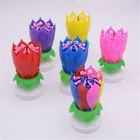 vela de bolo de flor de lótus venda por atacado-Musical vela do aniversário mágico Lotus Flower Velas Blossom Rotating Gire partido da vela 14 Velas Pequenas 2 camadas bolo Gadgets ZZA1330