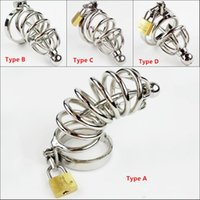 Wholesale sm toy catheter resale online - Hot Selling Male Chastity Cage With Metal Urethral Catheter Stainless Steel Chastity Belt Bondage Fetish Sm Sex Toys Y19070602